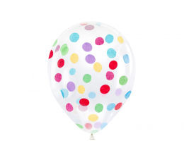 Balionai, skaidrūs su spalvotais konfeti (6 vnt./30 cm)