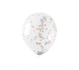 Balionai, skaidrūs su žvaigždučių konfeti (5 vnt./30 cm)