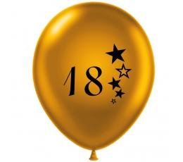 """Balionas """"18"""", auksinis-juodas (30 cm)"""