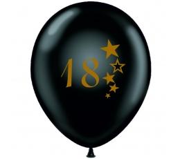 """Balionas """"18"""", juodas-auksinis (30 cm)"""