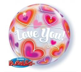 """Balionas-bablas  """"Širdelės- love you"""" (56 cm)"""