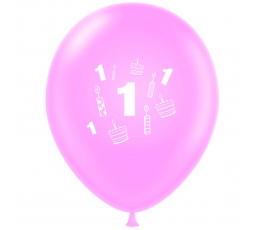 """Balionas """"Pirmasis gimtadienis"""", rožinis (30 cm)"""