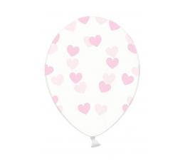 """Balionas """"Rožinės širdelės"""", skaidrus (30 cm)"""