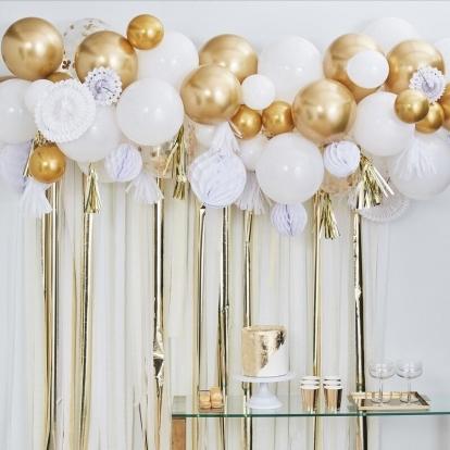 """Balionų girlianda-arka su dekoracijomis """"Pasidaryk pats"""", auksinė-balta"""