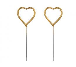 """Bengališkos ugnelės """"Širdelės"""", auksinės (2 vnt./16,5 cm)"""