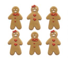 """Cukraus masės dekoracijos """"Imbierinis sausainis"""" (6 vnt.)"""