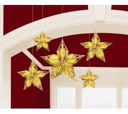 """Dekoracija """"Auksinės žvaigždės"""" (5 vnt.)"""