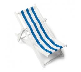 """Dekoracija """"Paplūdimio gultas"""", mėlynai dryžuotas (9X15 cm)"""