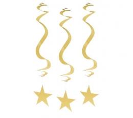 """Dekoracijos """"Auksinės žvaigždės"""" (3 vnt.)"""