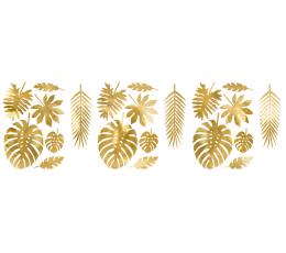 """Dekoracijos-karpiniai """"Tropikų lapai"""", auksiniai (21 vnt.)"""