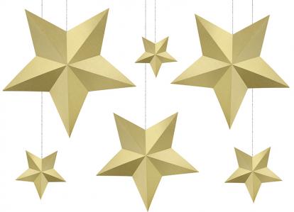 """Dekoracijų rinkinys """"Aukso žvaigždės"""" (6 vnt.)"""