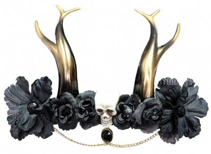 """Dekoratyvinis galvos aksesuaras """"Aukso ragai su kaukole"""""""