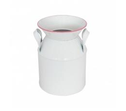 Dekoratyvinis pieno ąsotis, baltas rožiniu krašteliu (12x17 cm)