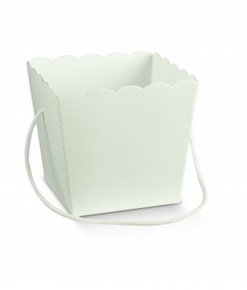 Dėžutė-kibirėlis, didelė balta su rankenėle (15X15X18 cm)