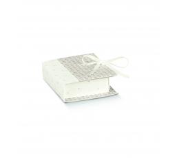 Dėžutė-knygelė, pilkai balta (7x6x2,5cm)