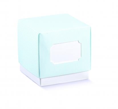 Dėžutė su dangteliu, žydra dryžuota (9x9x9 cm)