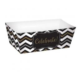 Dėžutės užkandžiams, juodi-auksiniai zigzagai (24 vnt.)