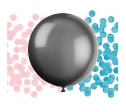 """Didelis balionas """"Kas gims?"""", su rausvais/žydrais konfeti (1 vnt./60 cm)"""