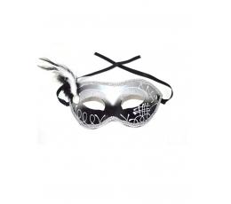 Domino kaukė, sidabrinė su plunksna