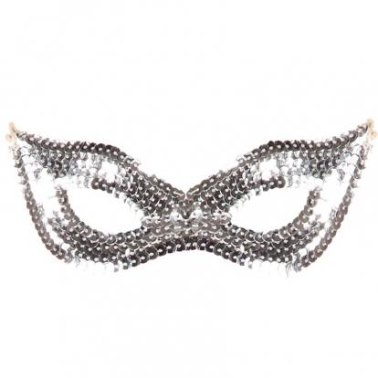 Domino kaukė, sidabrinė žvilganti