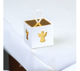 """Dovanų dėžutė su langeliais """"Angeliukas"""", baltai auksinė (5x5x5 cm)"""