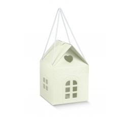 """Dovanų dėžutė su langeliais """"Namelis"""", kreminė (10X10X9 cm)"""