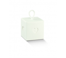 "Dovanų dėžutė su langeliais ""Širdelė"", balta (10x10x10 cm)"