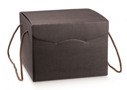 Dovanų dėžutė su virvutėmis, ruda (24X24X18 cm)