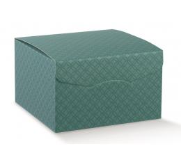 Dovanų dėžutė, žalia su ornamentais (22X22X23 cm)
