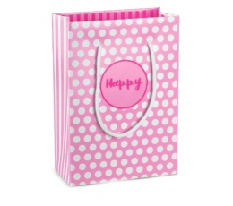"Dovanų maišelis ""Happy"" / rožinis (1 vnt./160x80x230 mm.)"