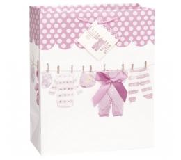 """Dovanų maišelis """"Mergaitė/rožinis"""" (1 vnt./33x27x14 cm)"""