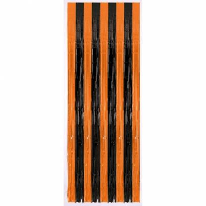 Folinė užuolaida-lietutis, oranžinė-juoda (243 x 91 cm)