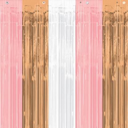 Folinė užuolaida-lietutis, rausva-rožinio aukso (243x91 cm)