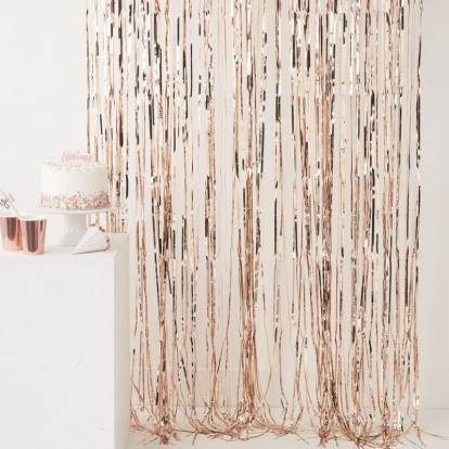 Folinė užuolaida-lietutis, rožinio aukso spalvos (91x244 cm)