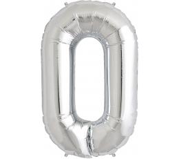"""Folinis balionas """"0"""", sidabrinis (85 cm)"""