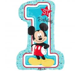 """Folinis balionas """"1-sis gimtadienis su Mikiu"""" (48 x 71 cm)"""