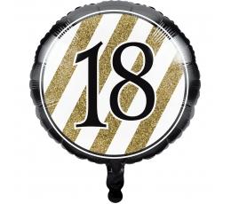 """Folinis balionas """"18"""", juodai auksinis (43 cm)"""