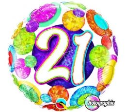 """Folinis balionas """"21"""", taškuotas (46 cm)"""