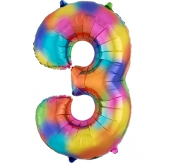 """Folinis balionas """"3"""", vaivorykštės spalvų  (86 cm)"""