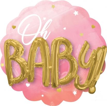 """Folinis balionas 3D """"Oh baby"""", rožinis (70 cm)"""