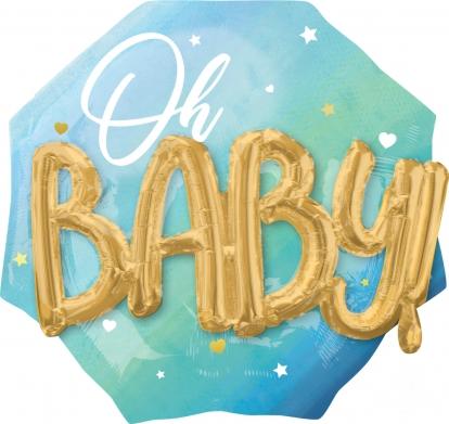 "Folinis balionas 3D ""Oh baby"", žydras (70 cm)"