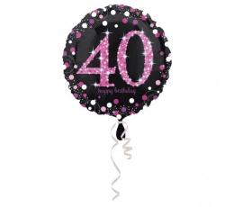 """Folinis balionas """"40"""", juodas-rausvas (43 cm)"""