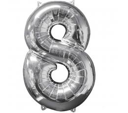 """Folinis balionas """"8"""", sidabrinis (66 cm)"""