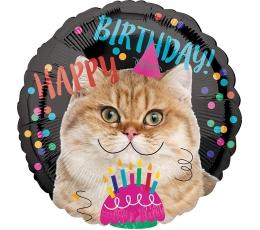 """Folinis balionas """"Gimtadienio katytė"""" (43 cm)"""