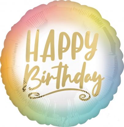 """Folinis balionas """"Happy birthday"""", ombre-auksinis (43 cm)"""