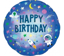 "Folinis balionas ""Happy Birthday Space"" (45 cm)"