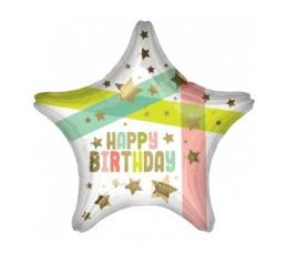 "Folinis balionas ""Happy Birthday Star"" (48 cm)"
