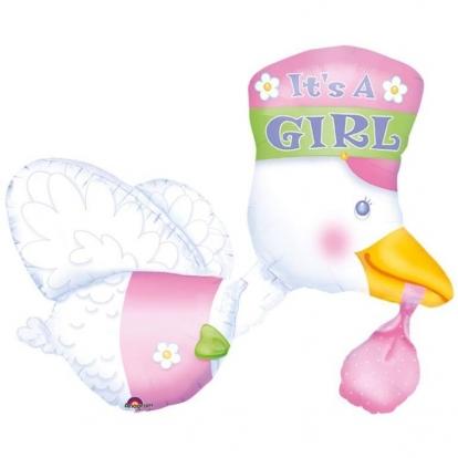 "Folinis balionas ""It's a girl Stork"" (58x81 cm)"