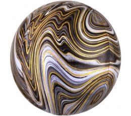 Folinis balionas-marblez, juodai auksinis (38x40cm)