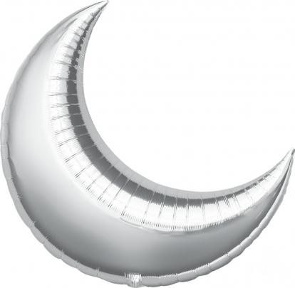 """Folinis balionas """"Mėnulis"""", sidabrinis (64x74 cm)"""